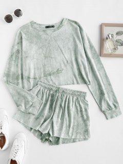 Sweat Tie Dye Raw Hem Two Piece Shorts Set - Green M