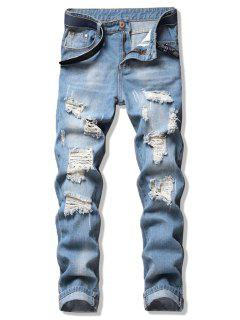 Ripped Design Straight Leg Jeans - Jeans Blue 36