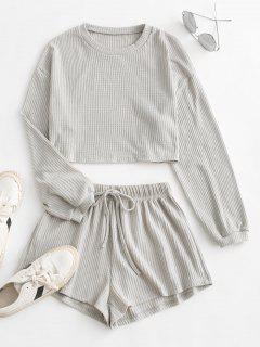 Knitted Drop Shoulder Drawstring Shorts Set - Light Gray L