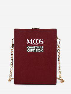 Christmas Letters Pattern Box Bag - Deep Red