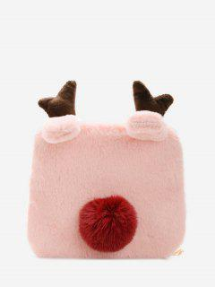 Square Elk Plush Chain Crossbody Bag - Light Pink