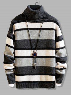 Color Blocking Striped Knit Turtleneck Sweater - Dark Gray Xs