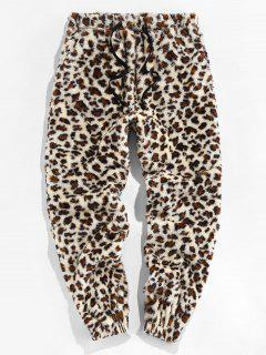 ZAFUL Leopard Pattern Faux Fur Fluffy Pants - Multi L