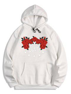 Rose Flower Love Print Graphic Fleece Hoodie - White L