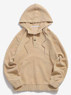 Half Button Solid Kangaroo Pocket Corduroy Hoodie - Light Yellow Xl
