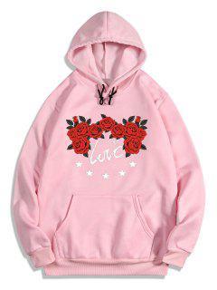 Sweat à Capuche Graphique Rose Fleur Imprimées En Toison - Rose Cochon Xl
