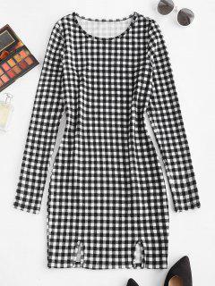 ZAFUL Plaid Print Slit Front Bodycon Dress - Black L