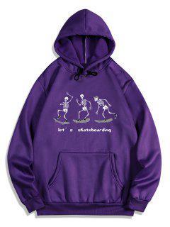 Skateboarding Skeleton Graphic Fleece Hoodie - Purple Iris S
