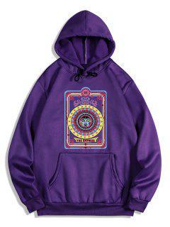 The Empress Card Pattern Fleece Hoodie - Purple Iris L