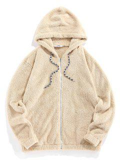 Hooded Zip Up Faux Fur Fluffy Jacket - Light Yellow Xl