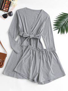 Ribbed Bowknot Belted Cardigan Shorts Pajama Set - Dark Gray L