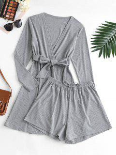 Ribbed Bowknot Belted Cardigan Shorts Pajama Set - Dark Gray S