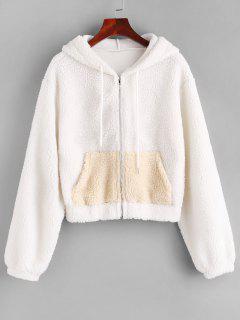 ZAFUL Hooded Zip Up Pocket Teddy Jacket - White M