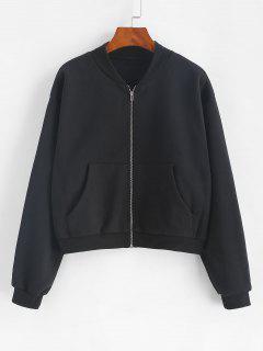 ZAFUL Front Pocket Zip Up Fleece Jacket - Black M