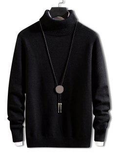 Turtleneck Solid Pullover Knit Sweater - Black M
