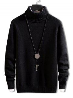Turtleneck Solid Pullover Knit Sweater - Black Xs
