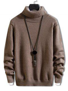 Turtleneck Solid Pullover Knit Sweater - Deep Coffee Xs