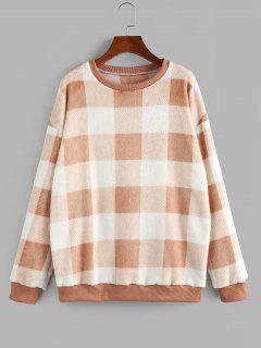 ZAFUL Fleece Plaid Drop Shoulder Oversized Sweatshirt - Light Orange S