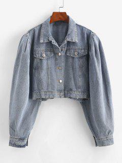 Flap Detail Button Up Jean Jacket - Blue M