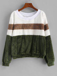 Faux Fur Colorblock Ribbed Neckline Sweatshirt - Deep Green M