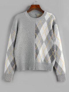 ZAFUL Argyle Ribbed Drop Shoulder Sweater - Light Gray L