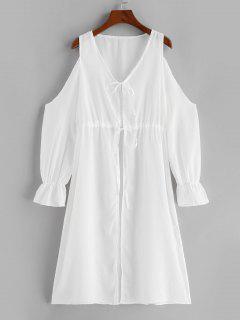 Cold Shoulder Plunge Tie See Thru Cover-up Dress - White L