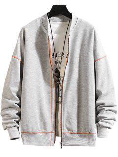 Zip Up Stitching Detail Jacket - Platinum L
