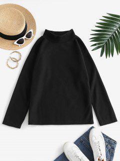 Sweat-shirt Simple En Laine à Col Montant - Noir M