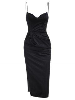 Slit Satin Ruched Bodycon Cami Dress - Black M