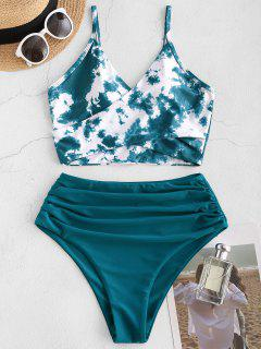 ZAFUL Tie Dye Cirss Cross Tankini Swimwear - Deep Green M