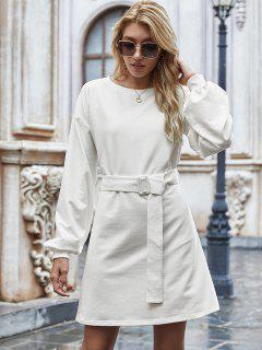 Long Sleeve Belted Casual Mini Dress - White M