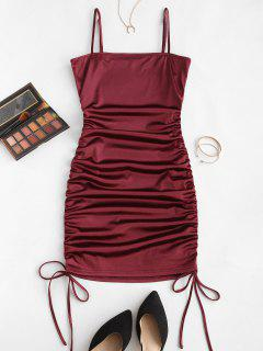 ZAFUL Spaghetti Strap Cinched Satin Bodycon Dress - Red Wine L