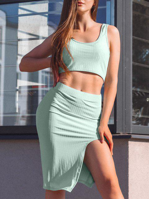 shop Cut Out Solid Crop Two Piece Suit - GREEN L Mobile