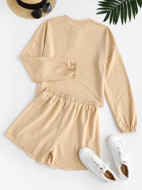 fashion Raw Hem Long Sleeve Two Piece Set - LIGHT COFFEE S Mobile