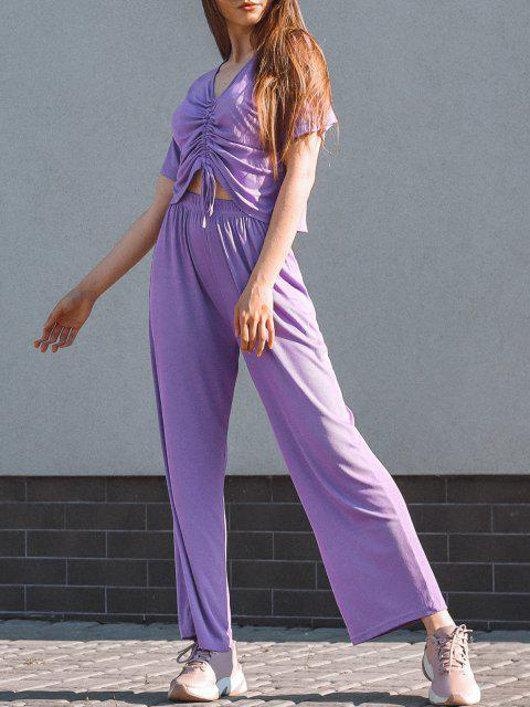 online Cinched Ribbed Wide Leg Two Piece Pants Set - PURPLE ONE SIZE Mobile