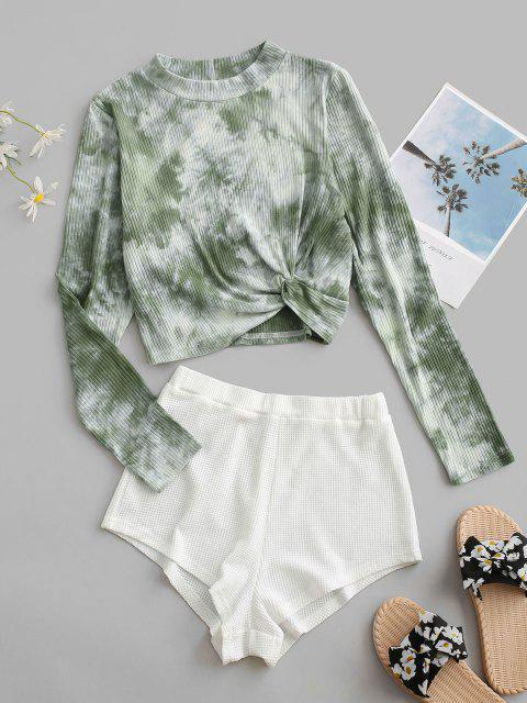 outfits Tie Dye Twist Ribbed Two Piece Set - LIGHT GREEN S Mobile
