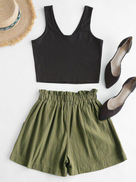 outfit Tie Ribbed Two Piece Set - GREEN S Mobile
