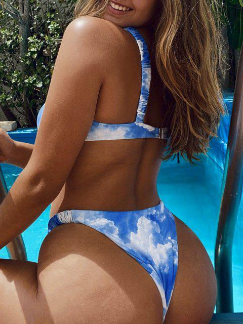 women ZAFUL Sky and Cloud Print Elasticated Straps Ribbed Bikini Swimwear - BLUE S Mobile