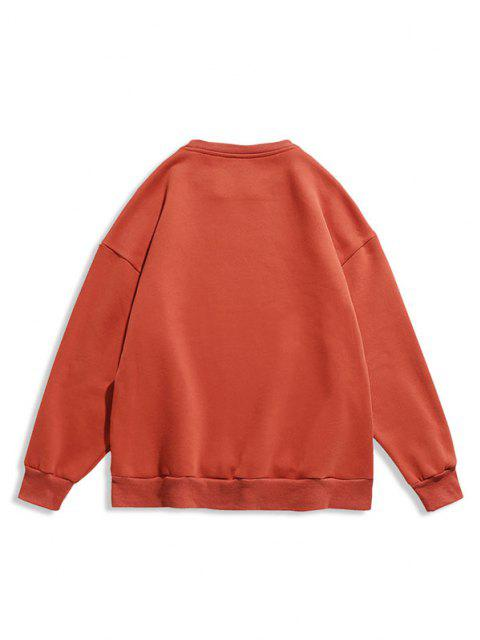 Lebhaftigkeit Schlechter Brief Luminous Print Rundhalsausschnitt-Sweatshirt - Orange L Mobile