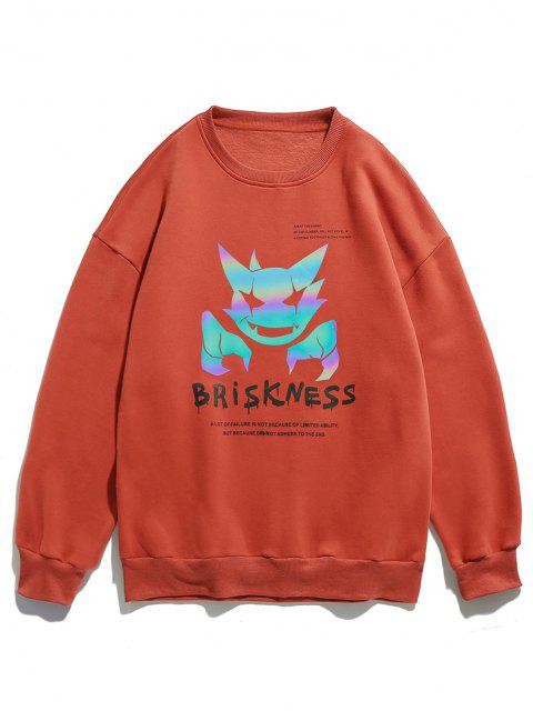 latest Briskness Evil Letter Luminous Print Crew Neck Sweatshirt - ORANGE L Mobile