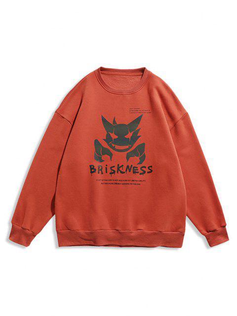 Sweat-shirtLumineux LettreImprimée à Col Rond - Orange XL Mobile