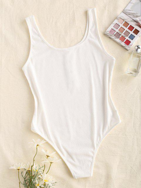 outfits Ribbed Mock Button Bodysuit - WHITE M Mobile