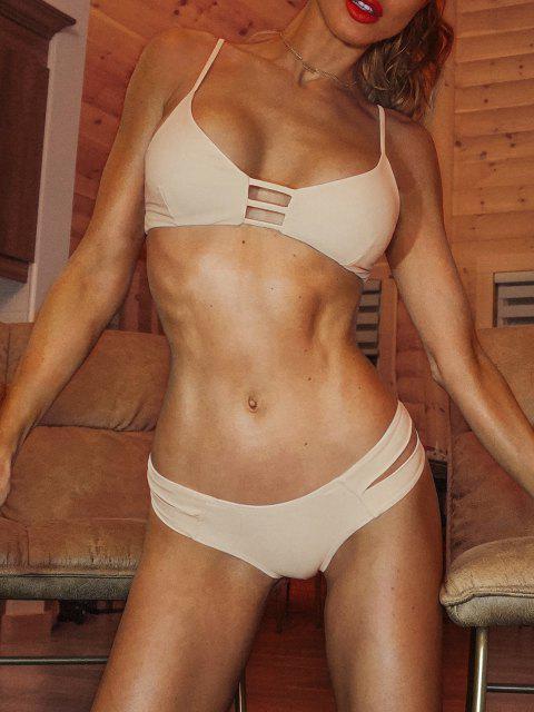 Traje de baño Bikini vendaje enjaulado - Rosa Amarillento S Mobile