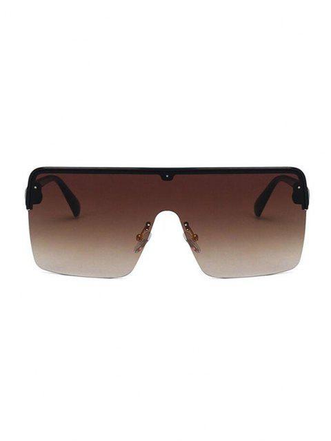 Square Oversized Shield Sunglasses - بنى  Mobile