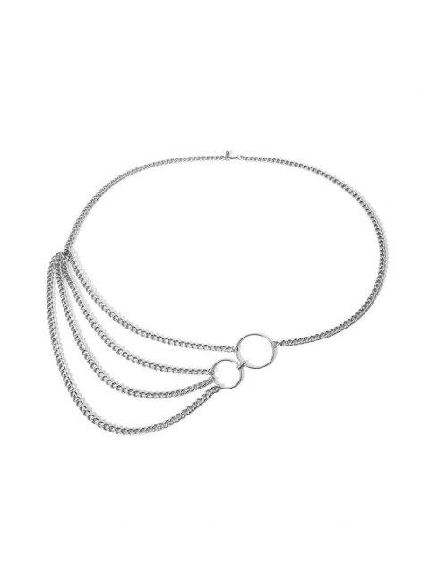fashion O-ring Layered Belly Chain - SILVER  Mobile