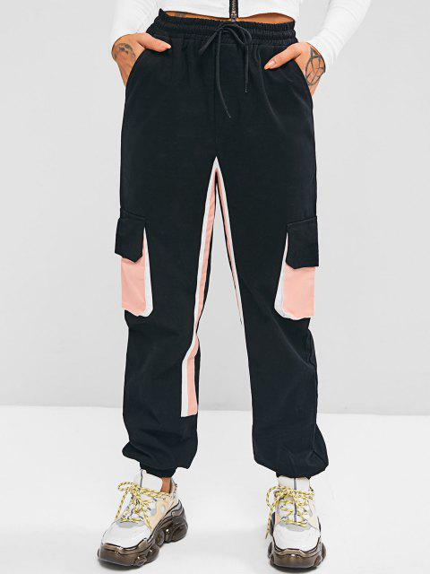 online Drawstring Colorblock Pockets Cargo Pants - BLACK S Mobile