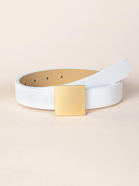 women's Square Buckle PU Leather Belt - WHITE  Mobile