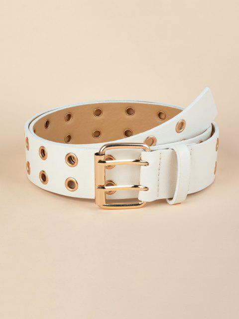 best Double Row Grommet Punk Belt - WHITE  Mobile