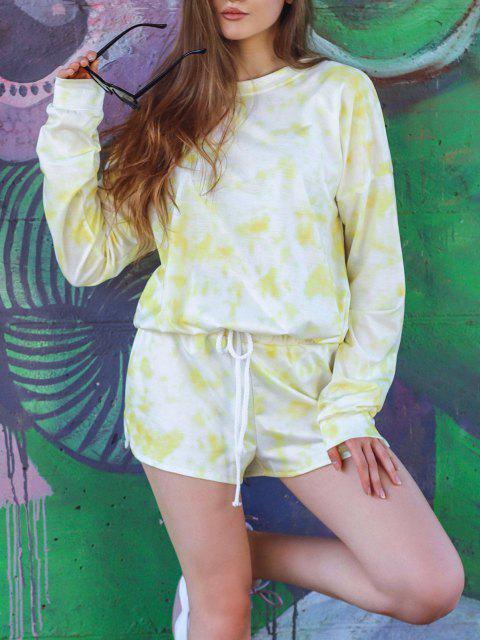 womens Tie Dye Drop Shoulder Drawstring Hem Shorts Set - LIGHT YELLOW S Mobile