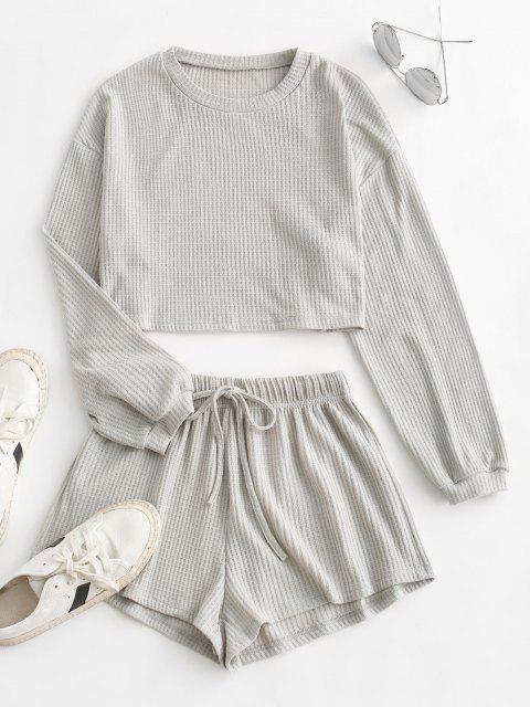 affordable Knitted Drop Shoulder Drawstring Shorts Set - LIGHT GRAY L Mobile
